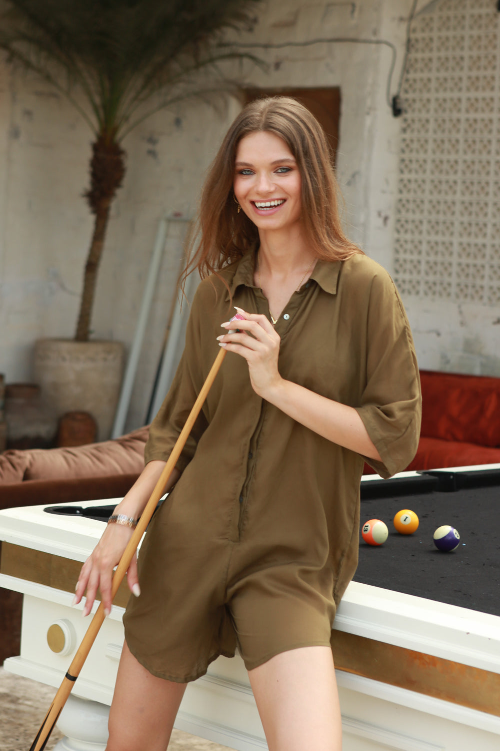 La Confection - Abelle - Button Up Shirt Playsuit in Khaki