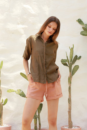 La Confection - Aldridge - Linen Short Sleeve Button Top In Khaki