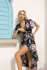 La Confection - Avalon - Wrap Kimono dress in Rose Navy