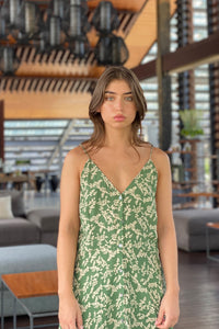 La Confection - Bambi - Slip Maxi Dress in Ivy Dill and Birch