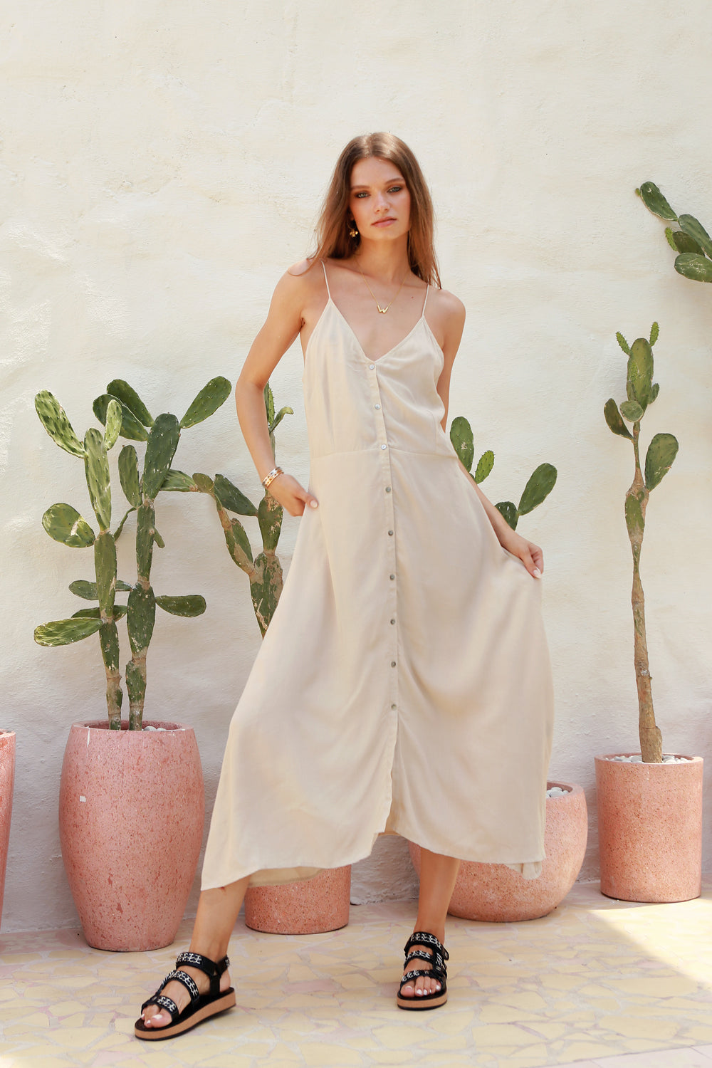 La Confection - Bambi - Slip Maxi Dress in Bircher