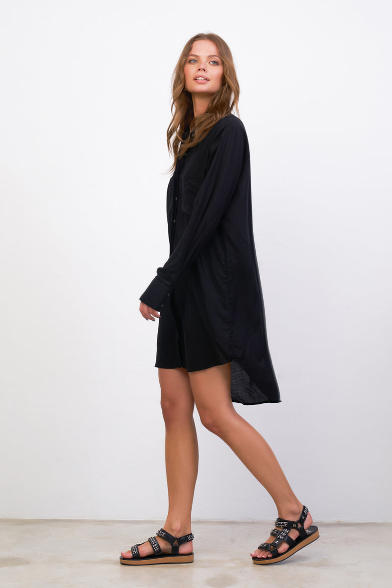 Twiggy - Shirt Dress in Black
