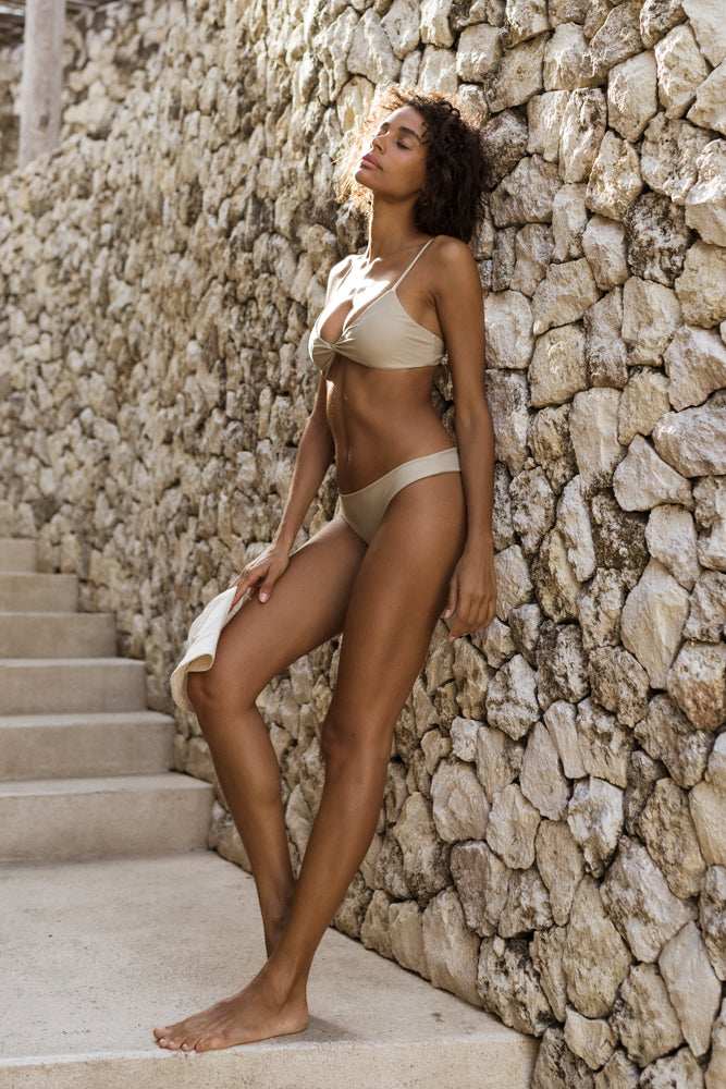 Storm Swimwear - Bora Bora - Twist front padded top in Cappuccino