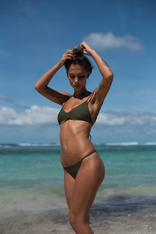 Storm Swimwear - Capri - Scoop Neck Bikini Top in Military Green