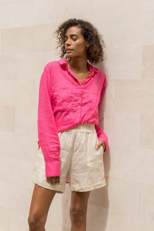 La Confection - The Cruise - Long Sleeve Button Up Shirt in Peony Pink