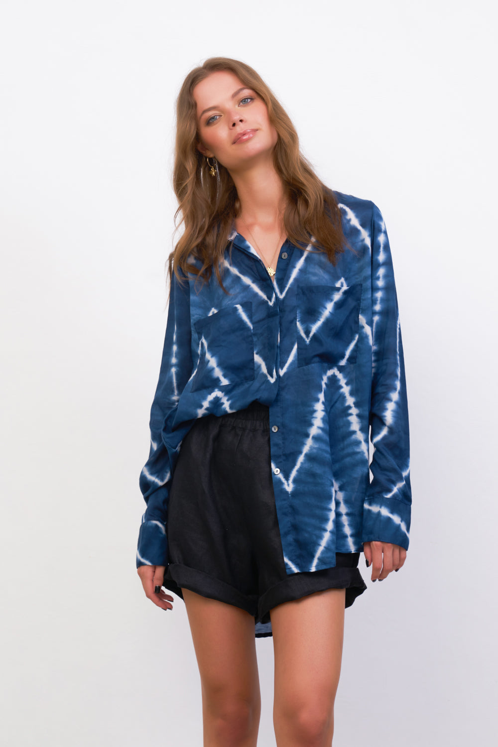 La Confection - The Cruise - Long Sleeve Button Up Shirt in Navy Tie Dye