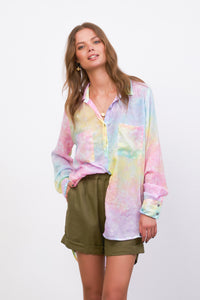 La Confection - The Cruise - Long Sleeve Button Up Shirt in Fluro Rainbow Tie Dye