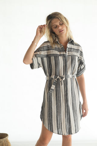La Confection - Luce - Shirt dress in Linen Stripe Natural and Grey