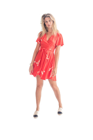 La Confection - Anouck - Micro Dress in Red and Cream Leaf Flower in Rayon