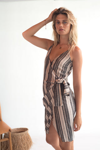 La Confection - Aspen - Midi Dress in Linen Stripe Natural and Grey