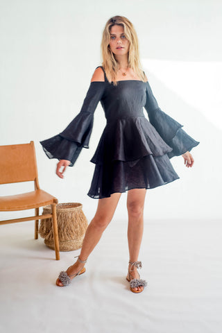 La Confection - Olympia - Ruffle Dress in Black Linen
