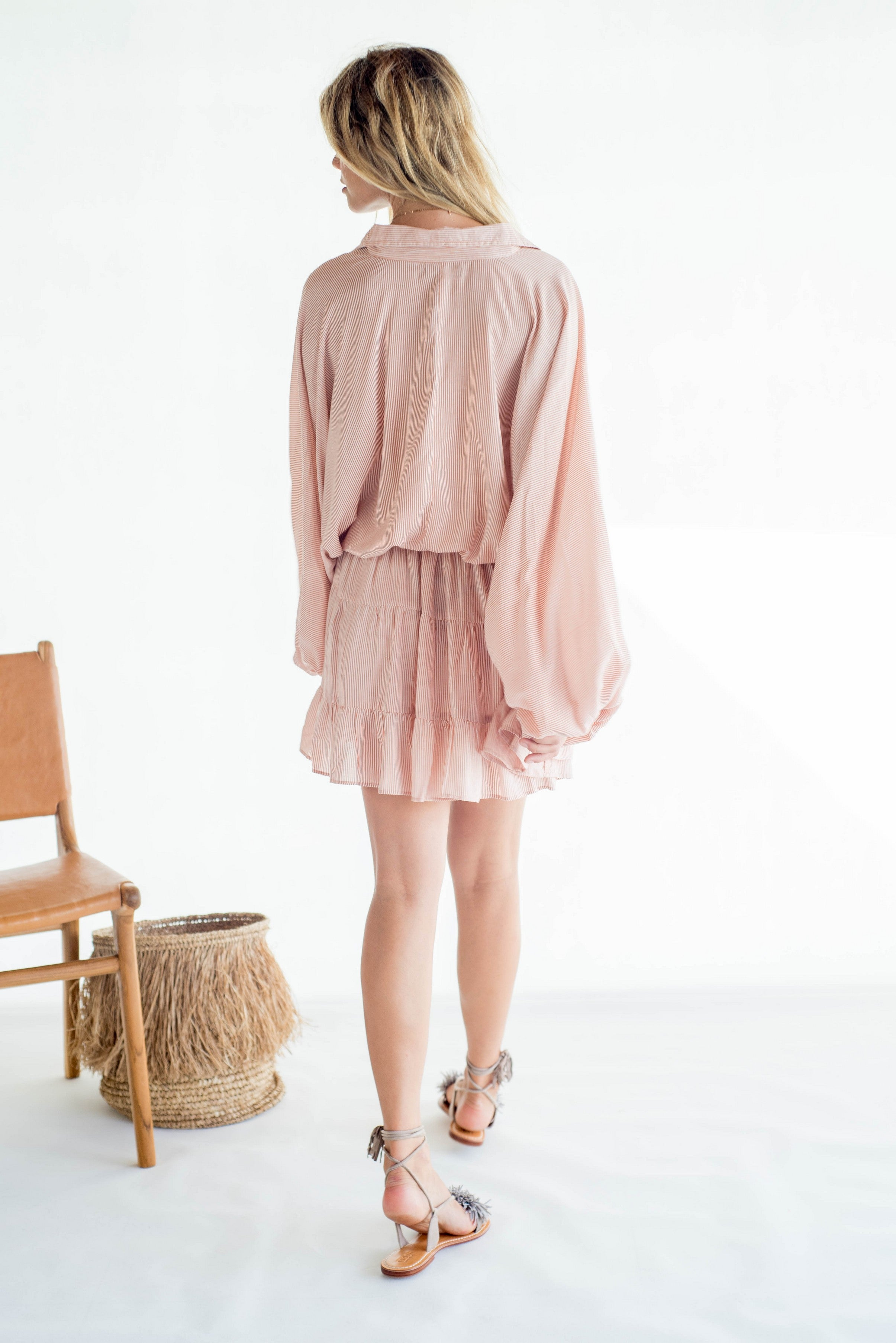 La Confection - Inka - Dress in Stripe coppertan and white rayon