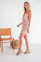 La Confection - Aspen - Micro Mini Dress in Stripe coppertan and white rayon