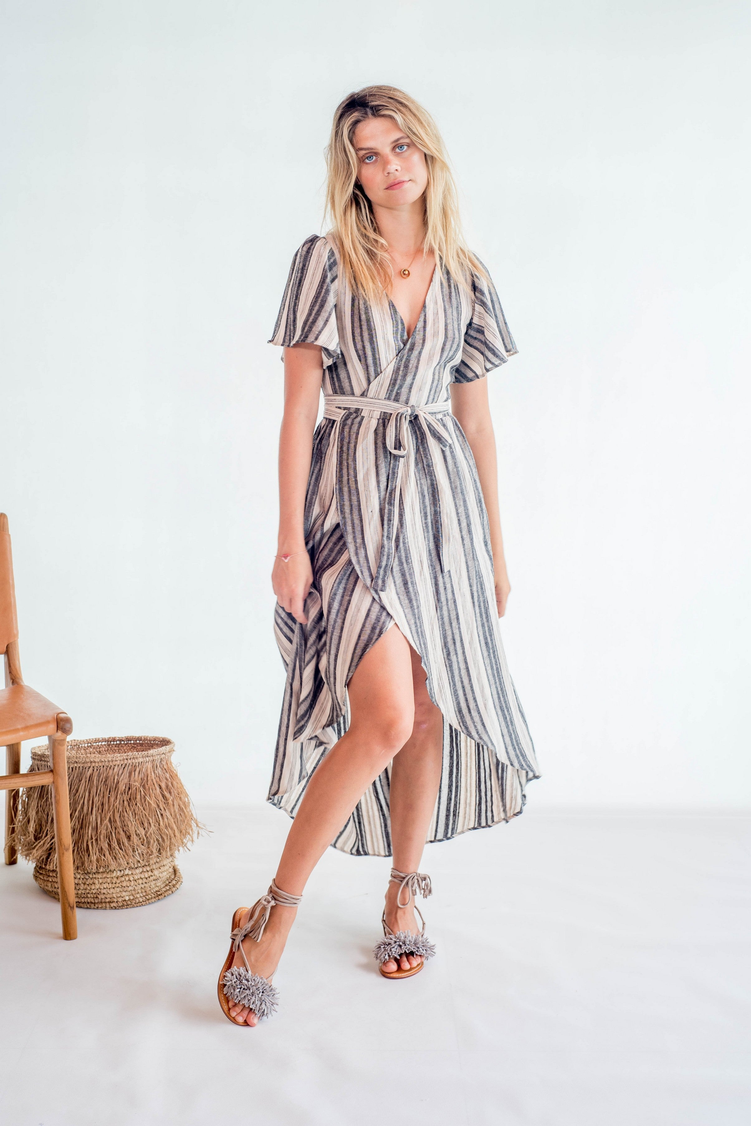 La Confection - Avalon - Wrap Kimono dress in Linen Stripe Natural and Grey
