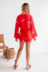 La Confection - Indigo - Playsuit in Red and Cream Leaf Flower in Rayon