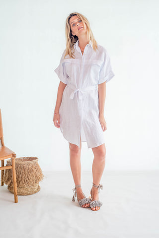 La Confection - Luce - Shirt dress in White Linen