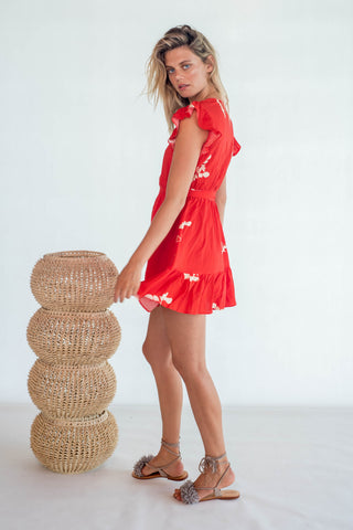 La Confection - Lulu - Short Dress in Red and Cream Leaf Flower in Rayon