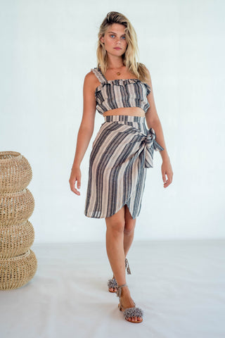 La Confection - Ariana - Wrap Skirt in Linen Stripe Natural and Grey