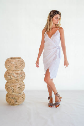 La Confection - Aspen - Midi Dress in White Linen