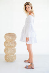 La Confection - Olympia - Ruffle Dress in White Linen