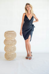 La Confection - Aspen - Midi Dress in Black Linen