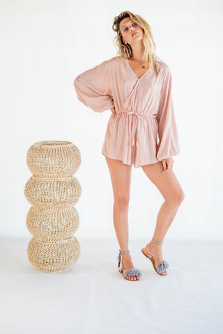 La Confection - Ashar - Playsuit in Stripe coppertan and white rayon