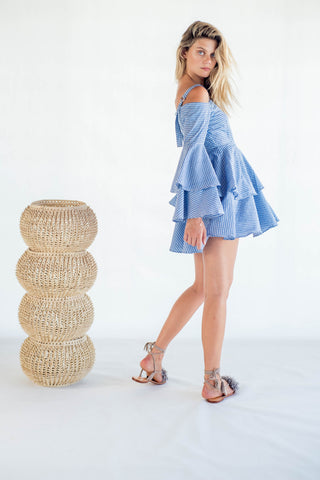 La Confection - Olympia - Ruffle Dress in Gingham Check Black and Blue