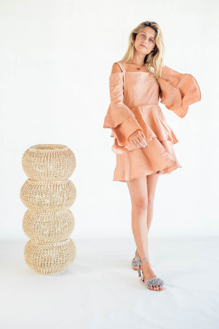 La Confection - Olympia - Ruffle Dress in Linen Coppertan
