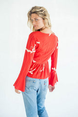 La Confection - Kenza - Top in Red and Cream Leaf Flower in Rayon