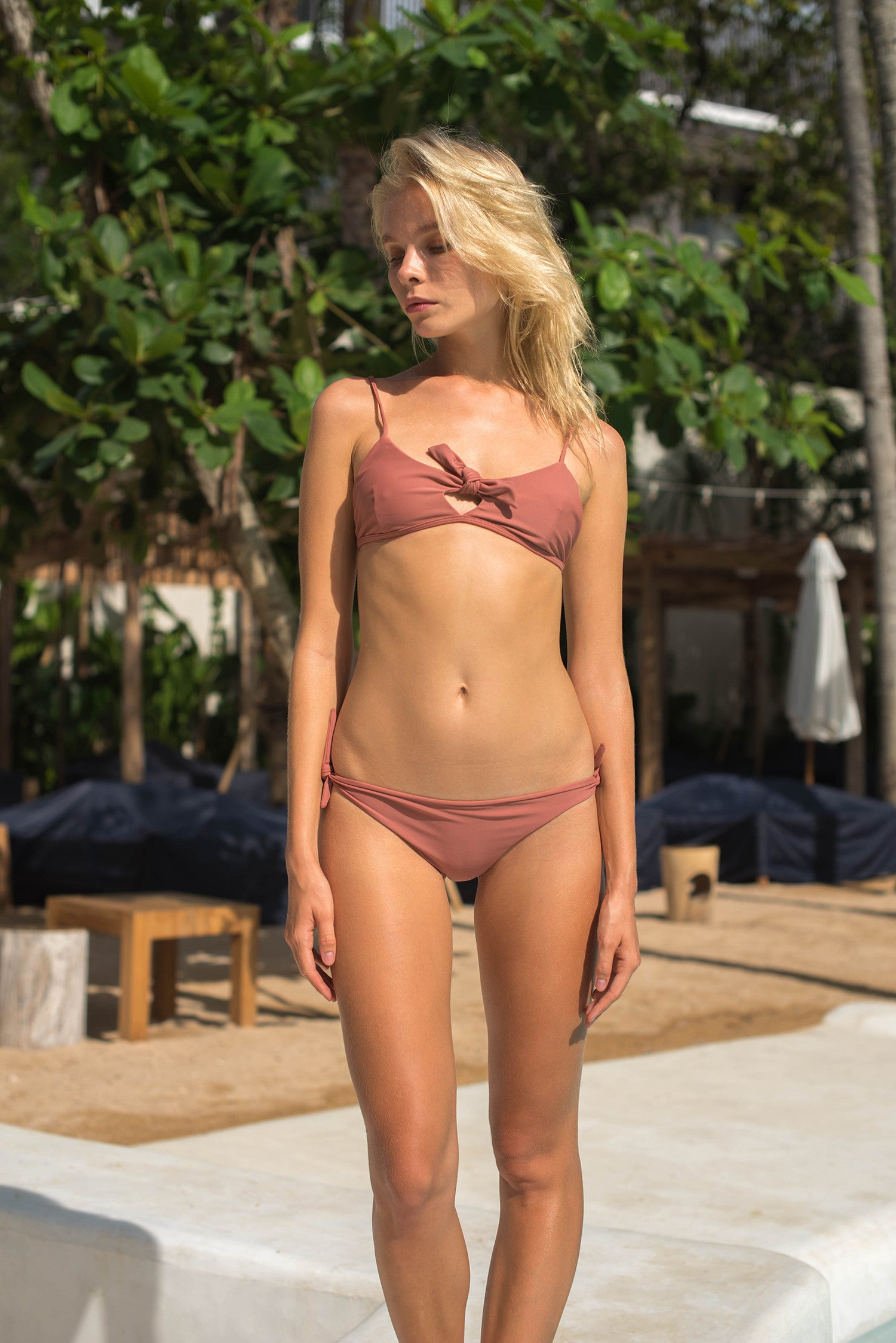 Storm Swimwear - Barbados - Bow tie front bikini top in Canyon Rose