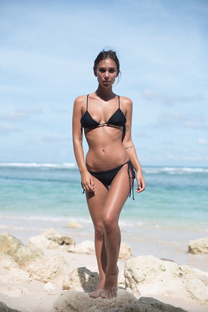 Storm Swimwear - Formentera - Tie Back Triangle Bikini Top in Black