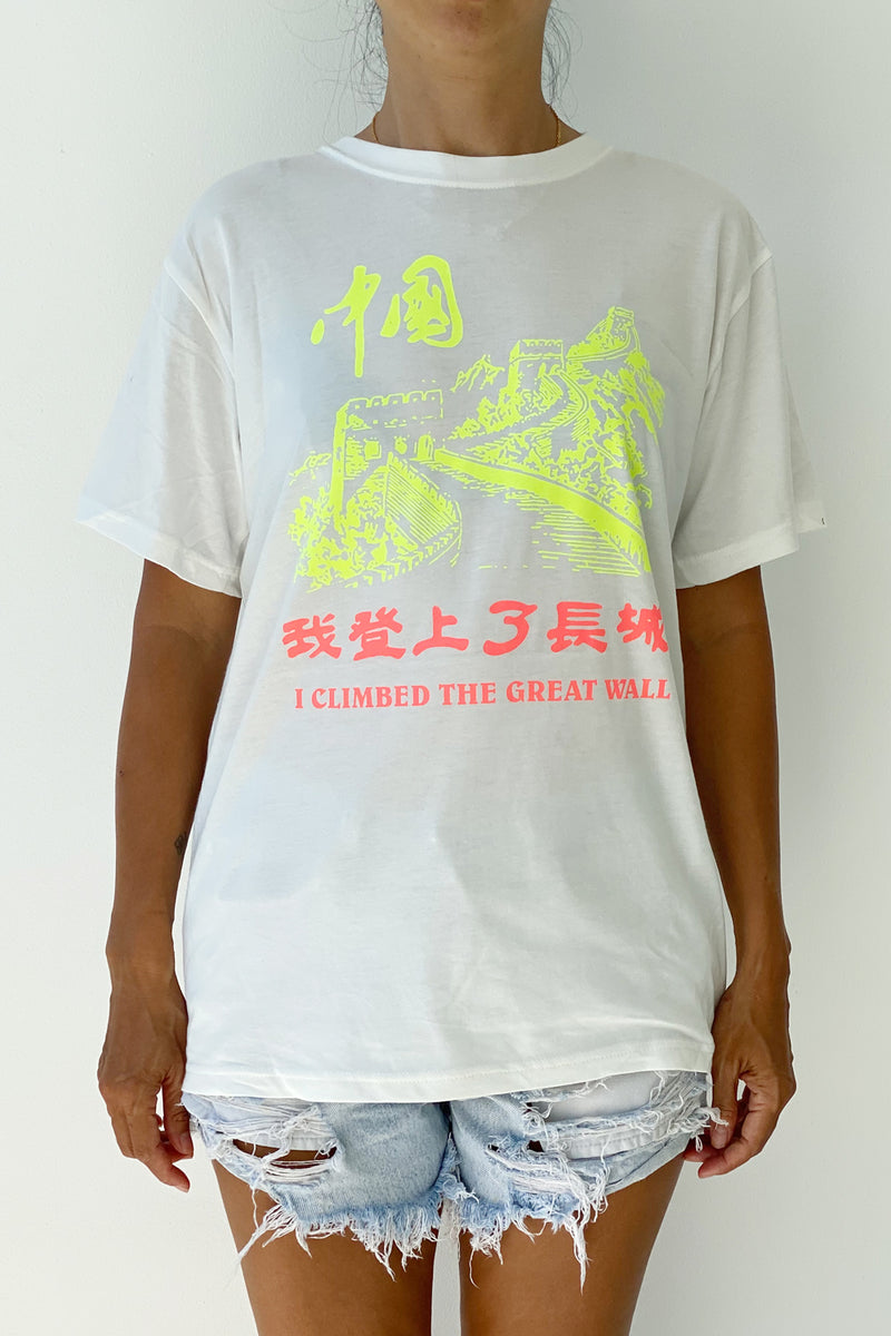 I Climbed The Great Wall in Fluro Colour - Womens Tshirt in White