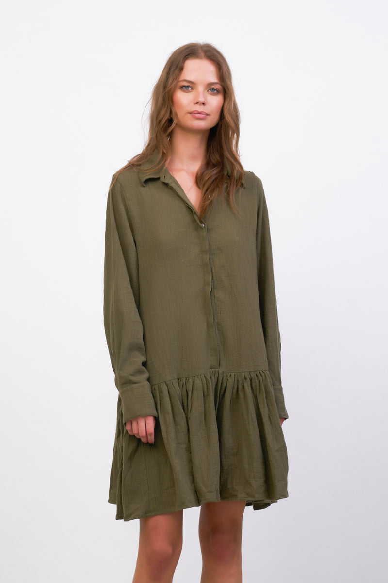 La Confection - Hermione - Long Sleeve Dress in Khaki