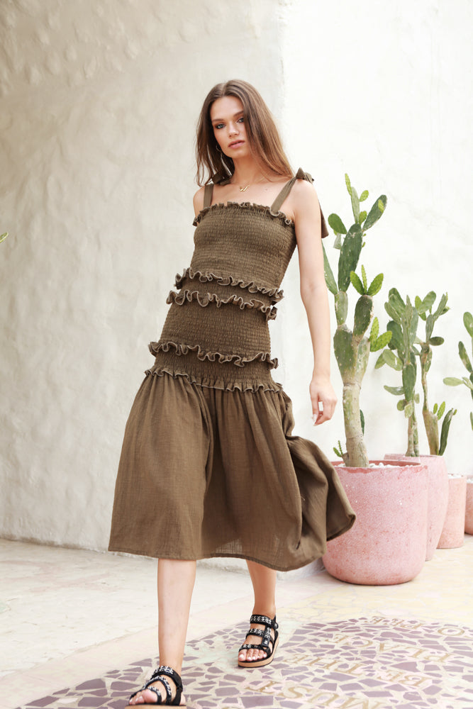 Levant - Shirring Ruffle maxi Dress in Khaki