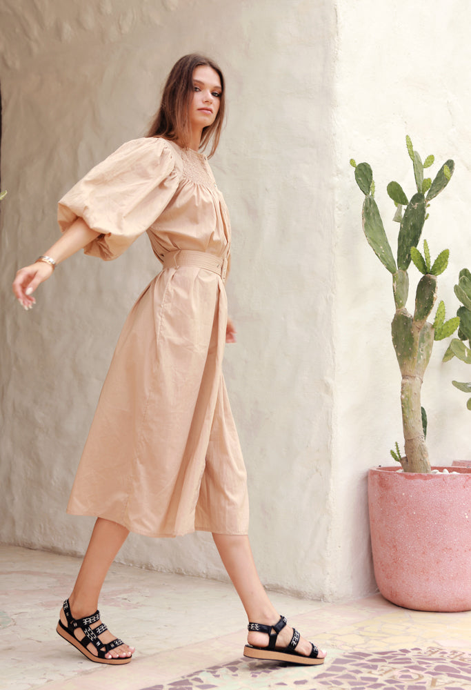 La Confection - Siena - Maxi Puff Dress with Shirring and Belt in Cappuccino