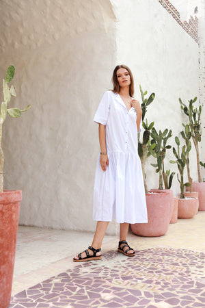 La Confection - Sorrento - Round Neck Button Loose Dress in White