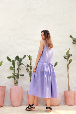 La Confection - Palermo - Cut Off Sleeve Parachute Dress with Collar in Lavender