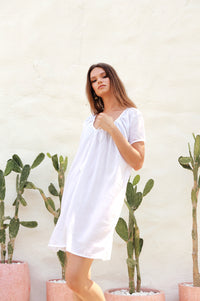 La Confection - Ostuni - Draw String Aline Dress in White