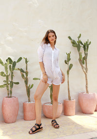 La Confection - Abelle - Button Up Shirt Playsuit in White