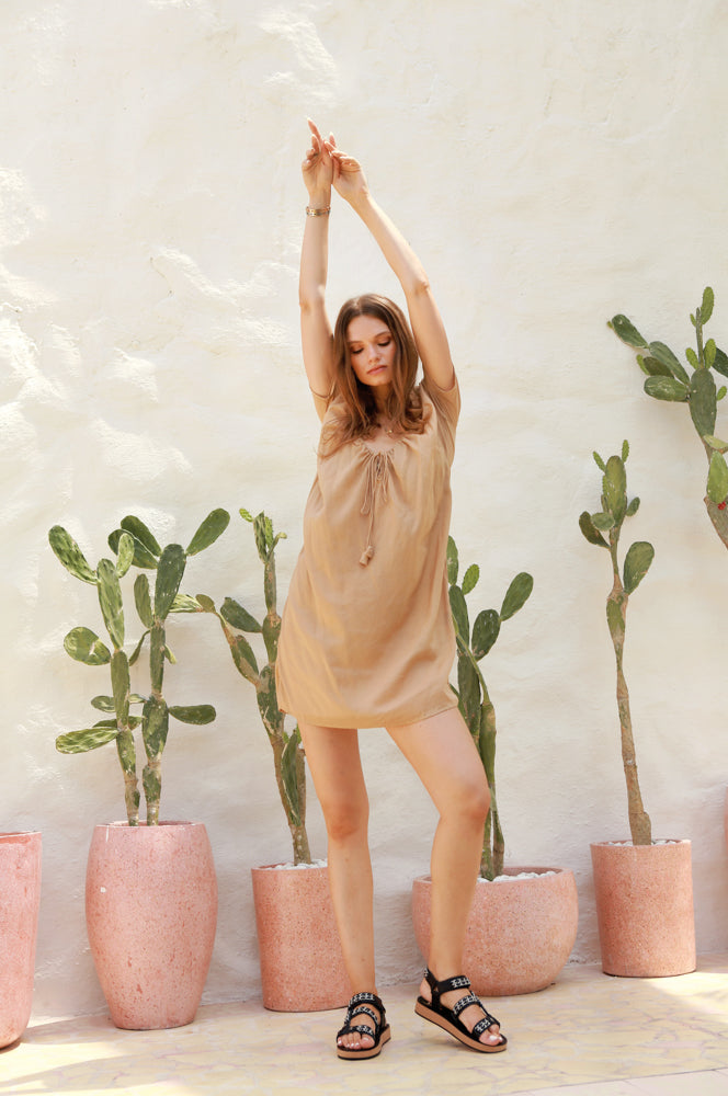La Confection - Ostuni - Draw String Aline Dress in Cappuccino