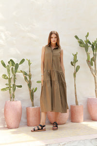 La Confection - Palermo - Cut Off Sleeve Parachute Dress with Collar in Khaki