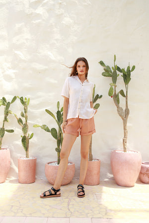 La Confection - Joie - Short in Coppertant Linen