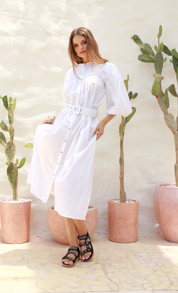 La Confection - Siena - Maxi Puff Dress with Shirring and Belt in White