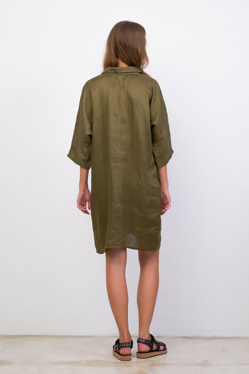La Confection - Lillie - Dress in Khaki Linen