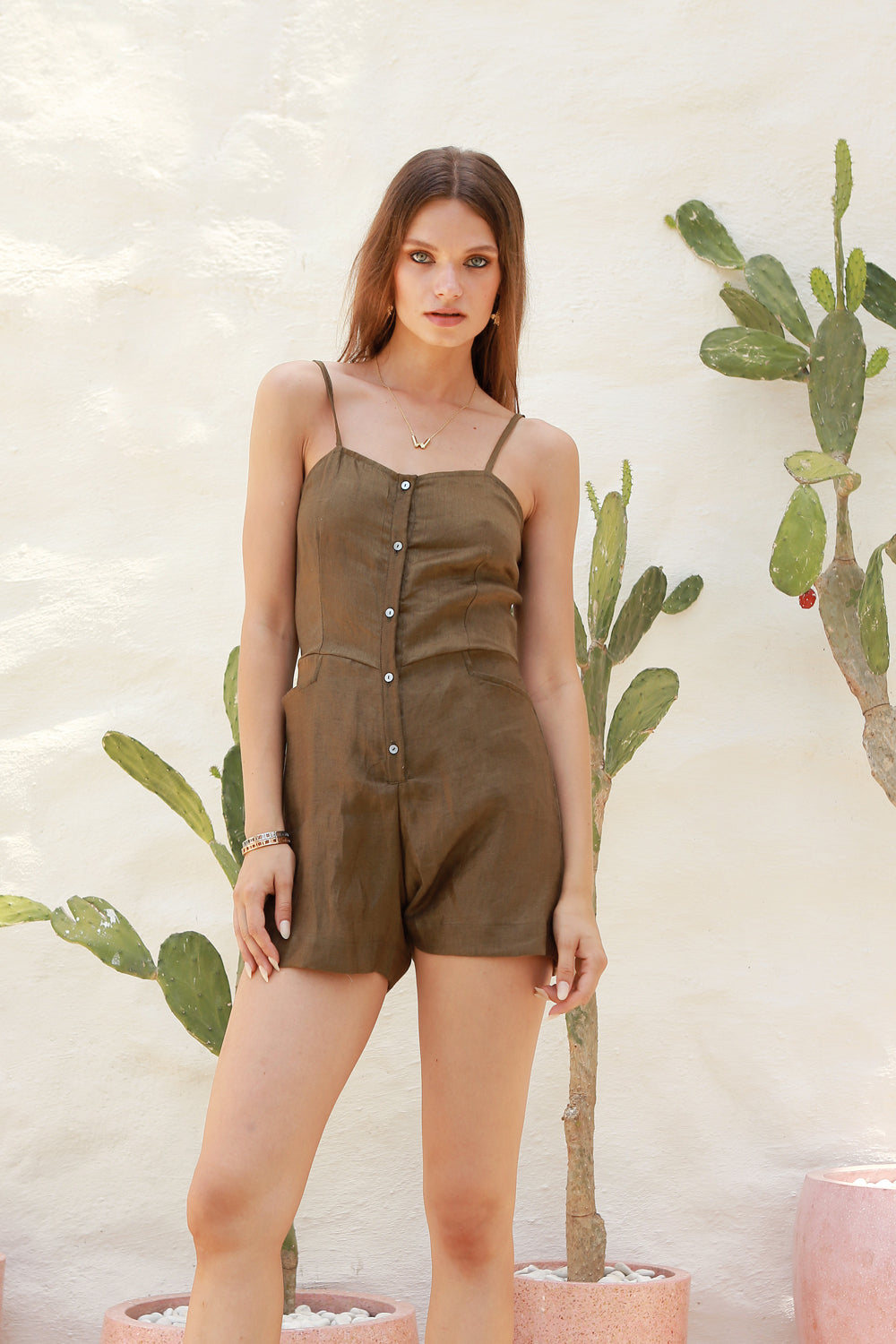 La Confection - Marbella - Linen Spaghettu Strap Button Playsuit in Khaki