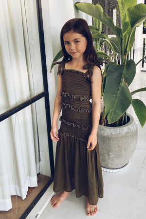 La Confection - Levant Kids - Shirring Long Dress in Khaki