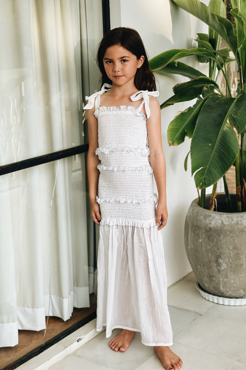 La Confection - Levant Kids - Shirring Long Dress in White