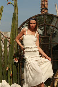 La Confection - Levant - Shirring Ruffle maxi Dress in White