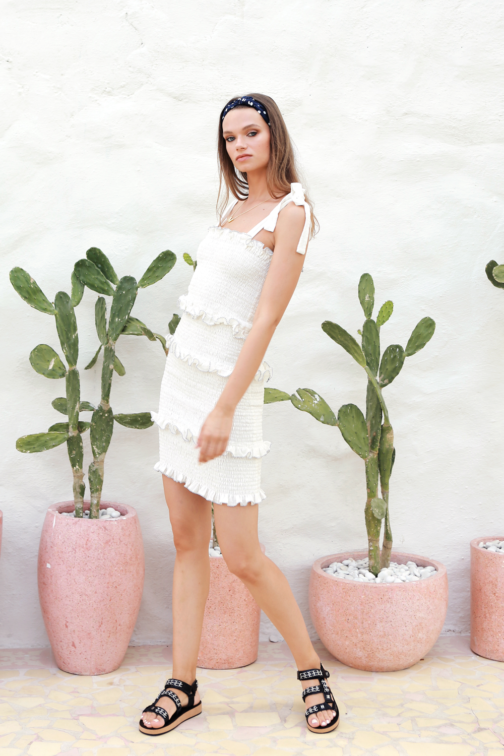 La Confection - Levant - Shirring Ruffle Mini Dress in White