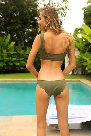 Marysia Swimwear - Palm  Spring Top in Olive & Broadway Brief in Olive (one set)